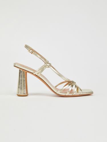 Column heeled metallic sandals