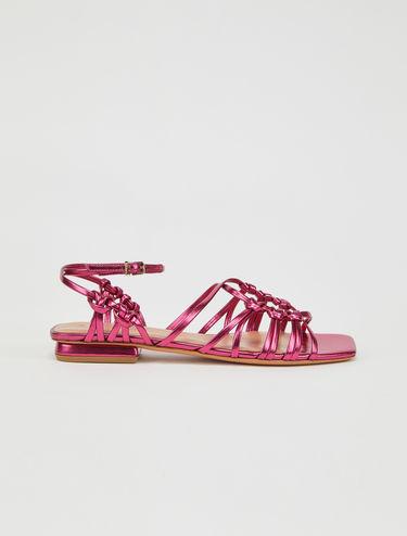 Flat metallic sandals