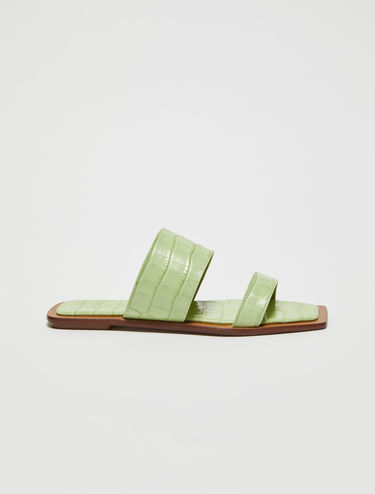 Crocodile-print leather sliders
