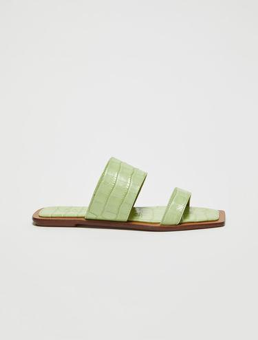 Crocodile-print leather sliders