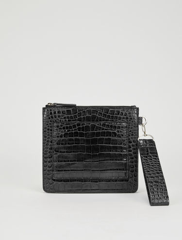 Crocodile-print clutch bag