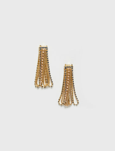 Gold and rhinestone chain earrings