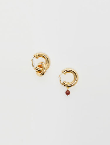 Gold hoop earrings with agate