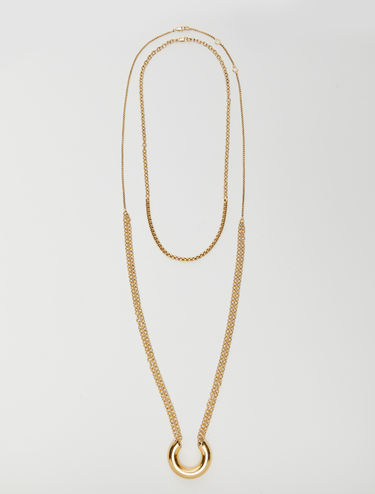Gold multi-chain necklace with ring