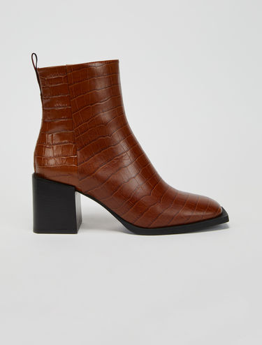 Crocodile-print leather ankle boots
