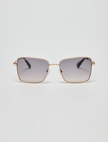Quadratische Sonnenbrille in Metallic-Optik