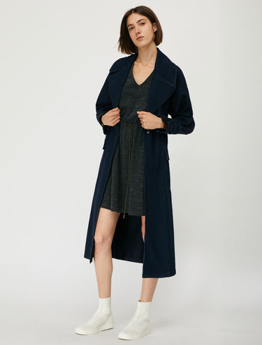 Denim and gabardine trench coat