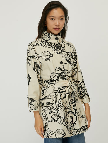 Floral cotton canvas trench coat