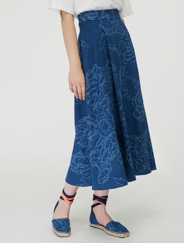 Denim jacquard midi skirt