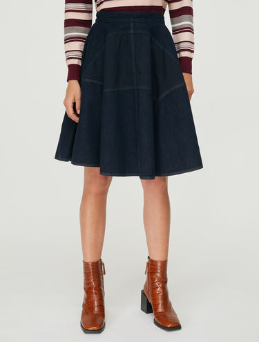 Denim and gabardine circular skirt