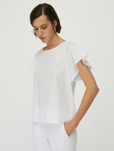 Poplin blouse with bow back