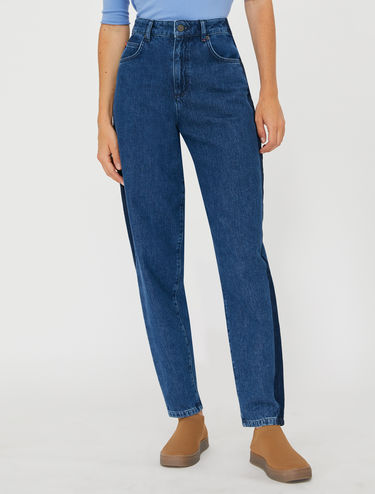 Barrel-leg jeans with side bands