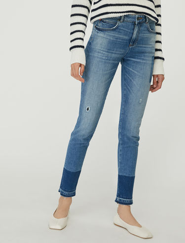 Colour block skinny jeans
