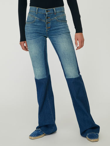 Colour block bootcut jeans