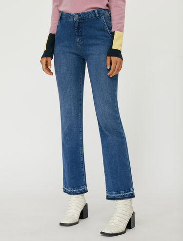 Stone-washed bootcut jeans