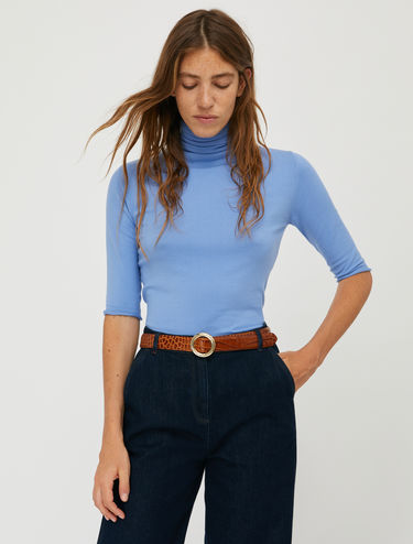 Stretch knit turtleneck
