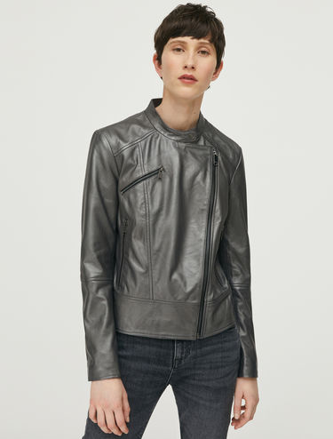 Metallic nappa leather biker jacket