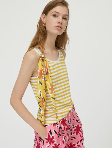 Striped tank top with foulard