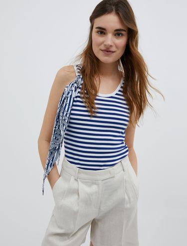 Striped tank top with foulard