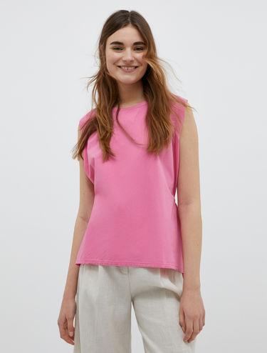 Poplin and jersey top