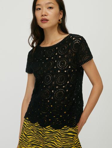 T-Shirt aus Macramé-Jersey