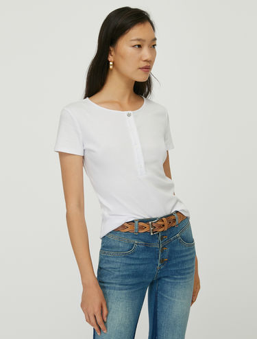 Button-front Henley T-shirt