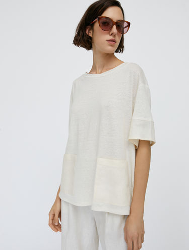 Linen canvas and jersey T-shirt