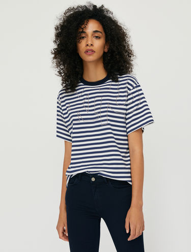Striped T-shirt with studs