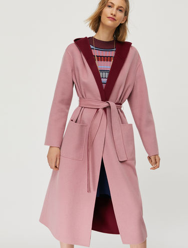 Double wool-cashmere hooded coat