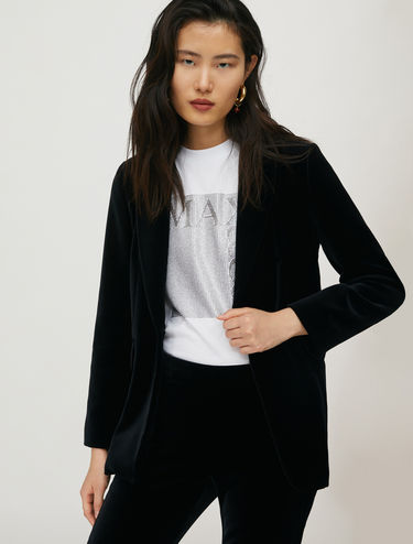 Smooth velvet blazer