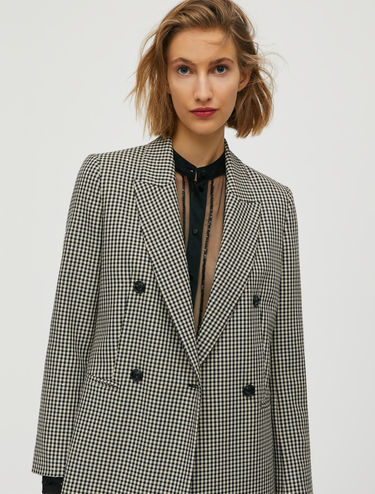 Checked blazer with micro sequins