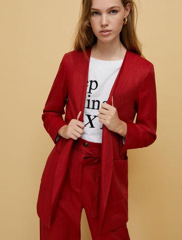 Long blazer in twill di lino