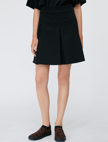 Cotton satin A-line skirt