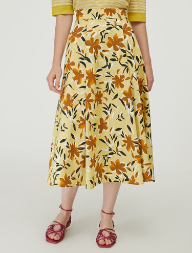 Cotton satin midi skirt