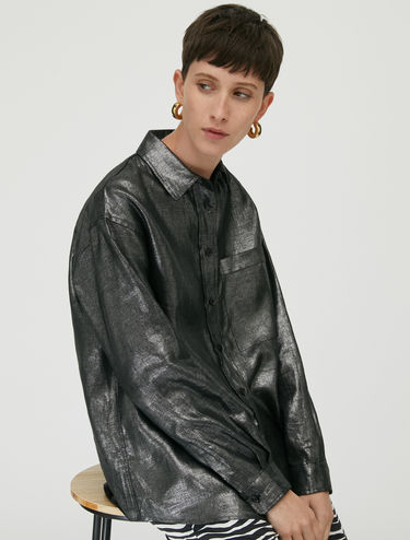 Metallic linen shirt