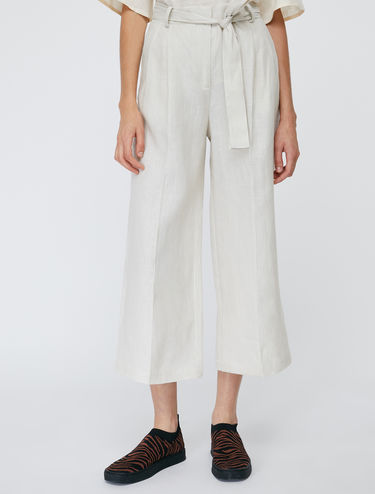 Pure linen wide-leg trousers