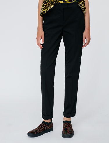 Slim cotton satin trousers
