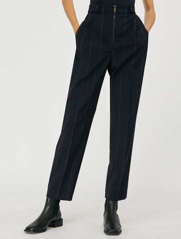 Double pleat wool trousers