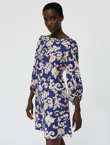 Floral twill tunic dress