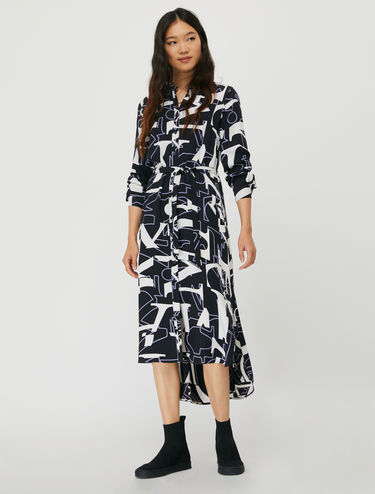 Shirt dress with lettering print