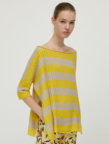 Pure linen ribbed jumper