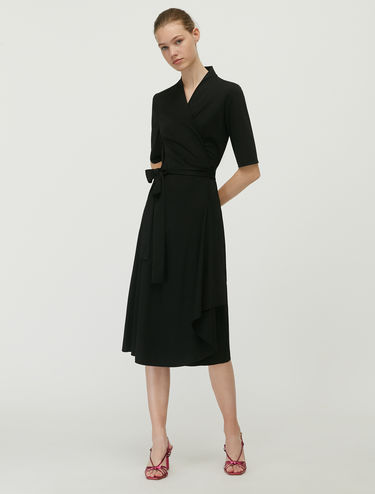 Technical jersey wrap dress