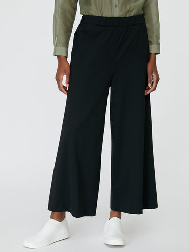 Technical jersey wide-leg trousers