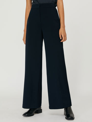 Jersey twill wide-leg trousers