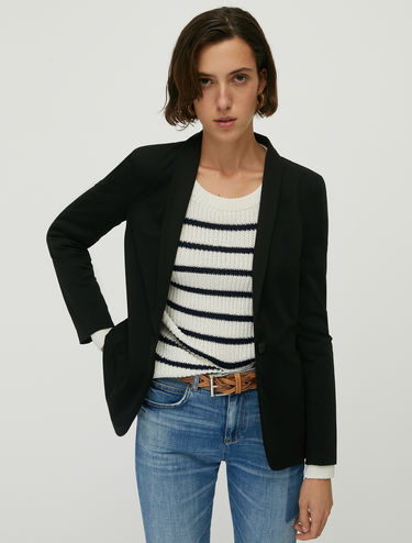 Slim-fit technical jersey blazer