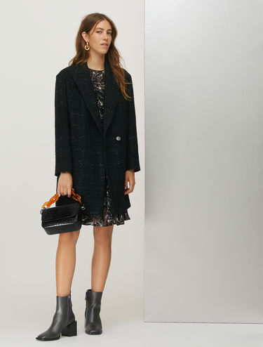 Tweed coat with lamé