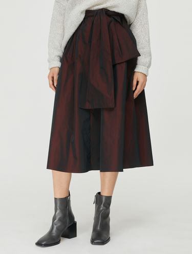 Wide taffeta midi skirt
