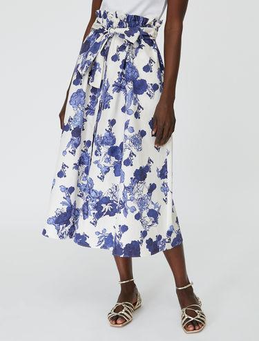 [アクロニモ] フローラル ポプリン スカート
