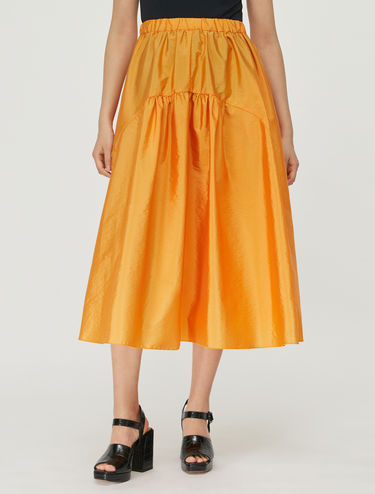 Techno-taffeta midi skirt