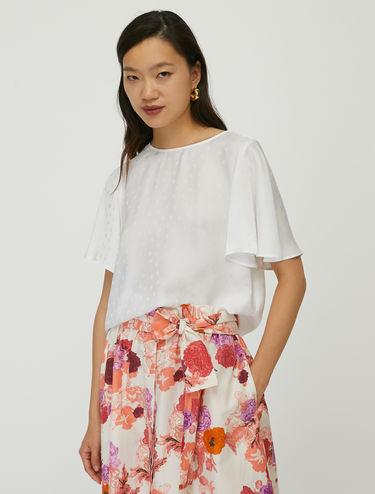 Polka dot jacquard blouse